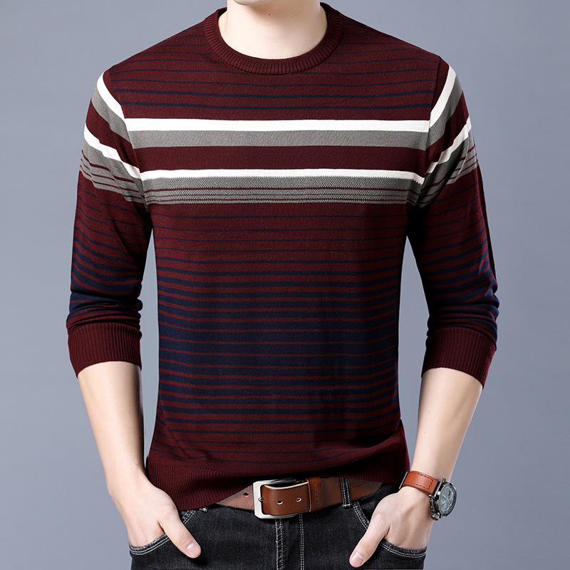 The New 2019 Men Round Neck Long Sleeve Thin Render Striped Sweater Sweater Youth