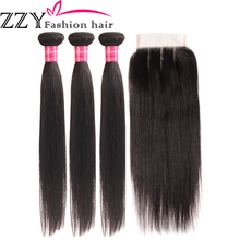 Hair-Bundles Closure Non-Remy Straight ZZY Fashion Peruvian with 3pcs
