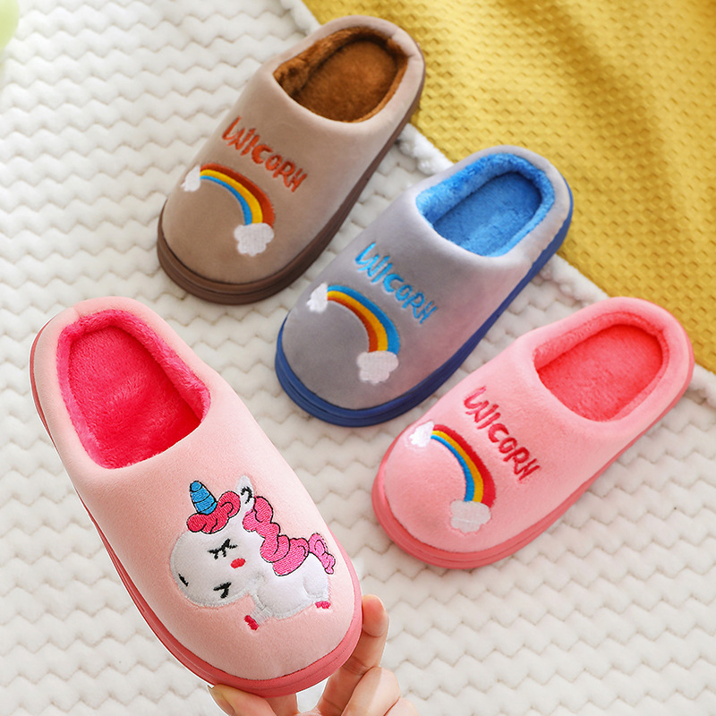 2019 Winter Unicorn Kids Slippers Toddler Girl Flip Flops Baby Boys Fur Slides Cotton Indoor Shoes Warm House Children Slipper