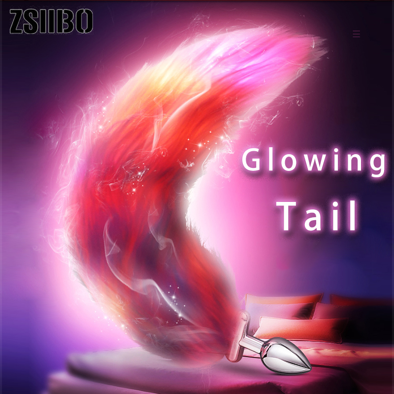Illuminated Fox Tail Anal Toys Plush Silica Gel Anal Plug Jewelry Dildo Vibrator Sex Toys for Woman Cosplay Tail Homosexual