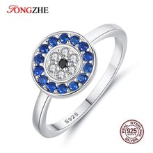 TONGZHE 925 Sterling Silver Evil Eye Rings For Women Lucky Blue Zirconia Wedding Engagement Ring Turkish Jewelry Men 2019