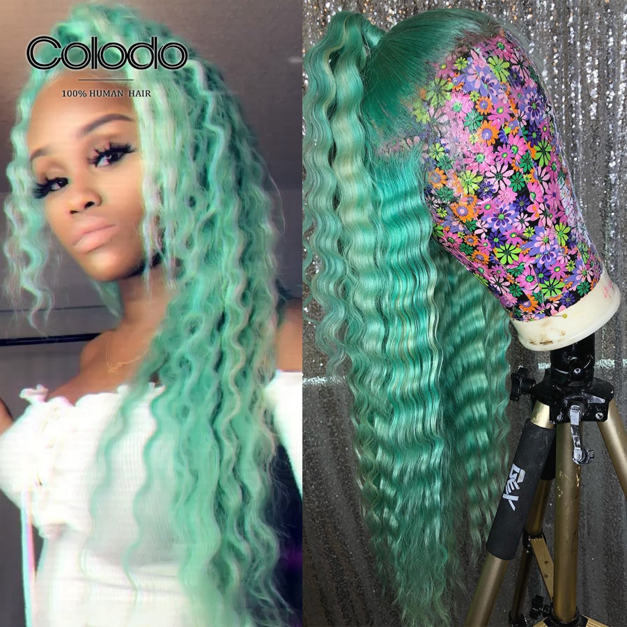 COLODO Deep Wave Lace Front Wig Green Color Brazilian Wig With Baby Hair Remy Hair Glueless Full Lace Human Hair Wigs For Women
