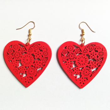 3D Fashion Hollow Carving wood Peach Heart Drop Earrings Handmade  Earrings Personality Laser Cut eco Wooden Jewelry unfinished wood printing africa girl round drop earrings wooden african hiphop tribal handmade diy jewelry natural accessories