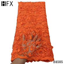 HFX Orange African Net Lace French Sequin Fabric Embroidered Tulle Lace Fabric 2021 High Quality Lace For Dress Sewing F4505