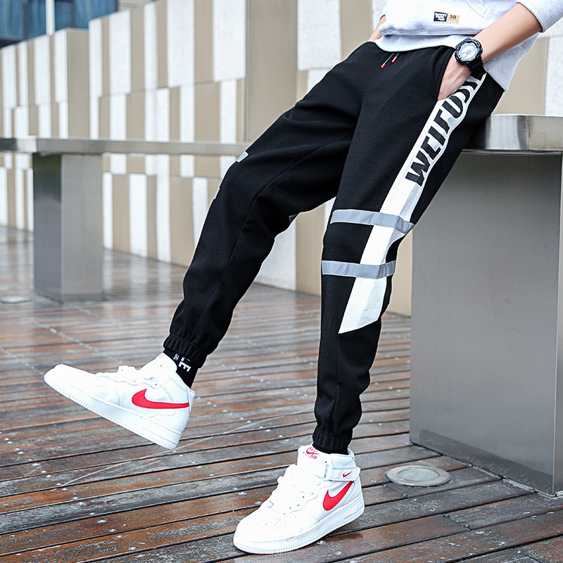 Spring And Autumn Popular Brand Ankle Banded Pants Men's Loose-Fit Hip Hop Casual Pants Couples Reflective Cool Athletic Pants I
