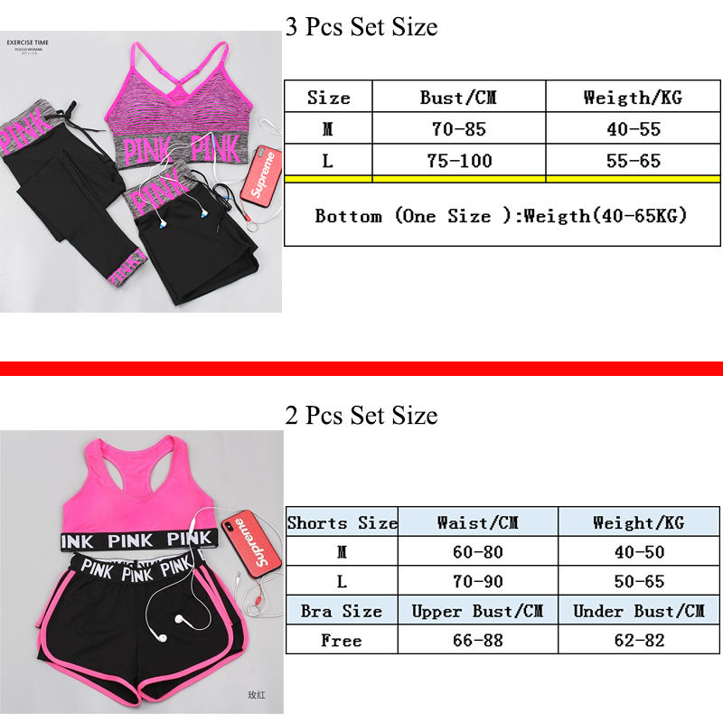 Pink Sports Yoga Sets Sports Bra+Yoga Pants+Shorts Fitness Clothing Sportwear Women Yoga Suit Sports Wear For Women Gym Clothing
