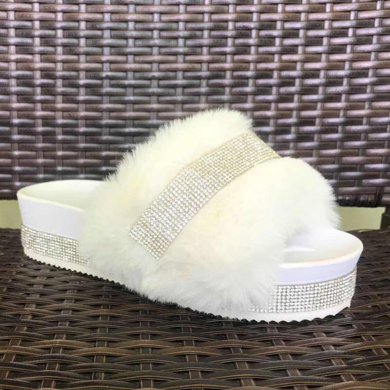 Women Fur Sliders White Furry Slides