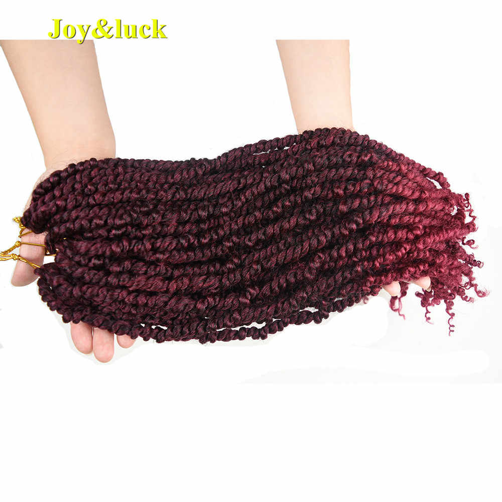 Joy&luck Passion Twist Ombre Color Synthetic Braiding Hair 18inch Long Crochet Braids Hair Extensions
