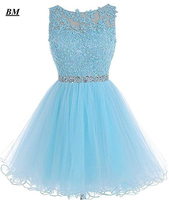 Newest Blue Short Homecoming Dresses 2019 Beading Tulle Graduation Cocktail Formal Prom Party Gown Vestido de Formatura BM73
