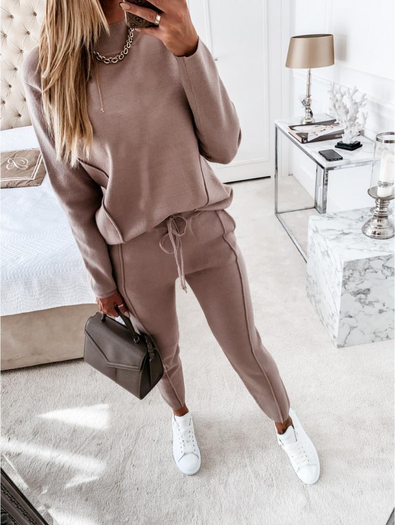 2021 yeni balıkçı yaka kadın kazak uzun kollu uzun pantolon spor elbise kadın kazak rahat katı spor 2 parça Set