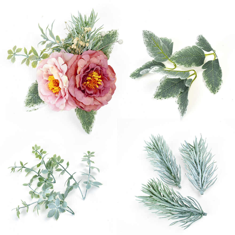 10pcs ประดิษฐ์ดอกไม้ใบช่องานแต่งงานตกแต่งคริสต์มาส DIY พวงหรีดอุปกรณ์เสริม scrapbooking ดอกไม้ปลอม