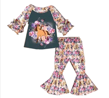 The most popular girls cute  horse suit location print kids trumpet flower hot sale children sets