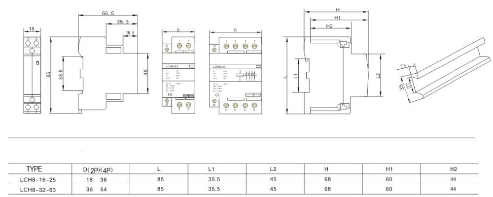 H26eb56403dd34a98b3aa8c35be3256938 - 1PCS CT1-25 16A 20A 25A 32A 2P 2NO 2P 4P 4NO CT1-63 32A 40A 63A 230v 50/60HZ Din Rail Household AC Contactor
