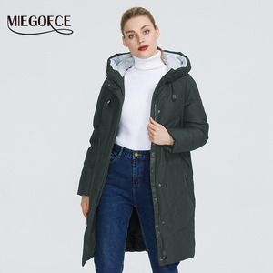 Image 3 - Miegofce 2019 Donne di Inverno Parka Femme Windpro Cappotto con Stand Up Colletto E Cappuccio Che Protegge Dal freddo Del Rivestimento Delle Donne