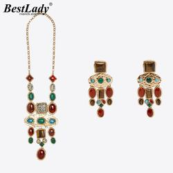 Best Lady New ZA Colorful Maxi Nature Stone Necklaces for Women Boho Luxury Collar Choker Necklaces Wedding  Jewelry Party Gifts