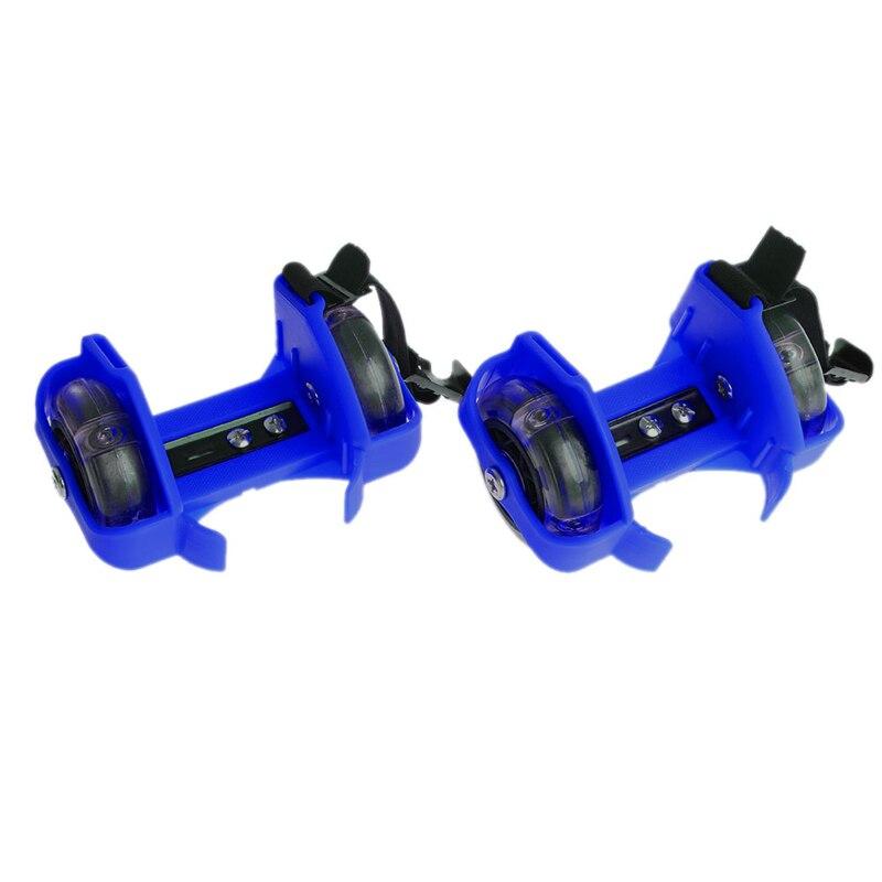 Super Sell-Children Wheel Heel Roller Light Adjustable Skates Kid Falsh-Blue