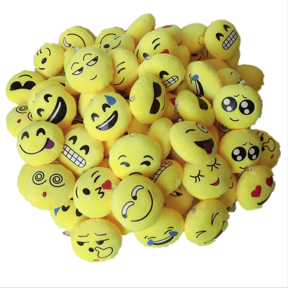 15pcs Smiley Symbol Keychains Mini Plush Pillows Key Ring For Birthday Event Party Kids Party Supplies Favors