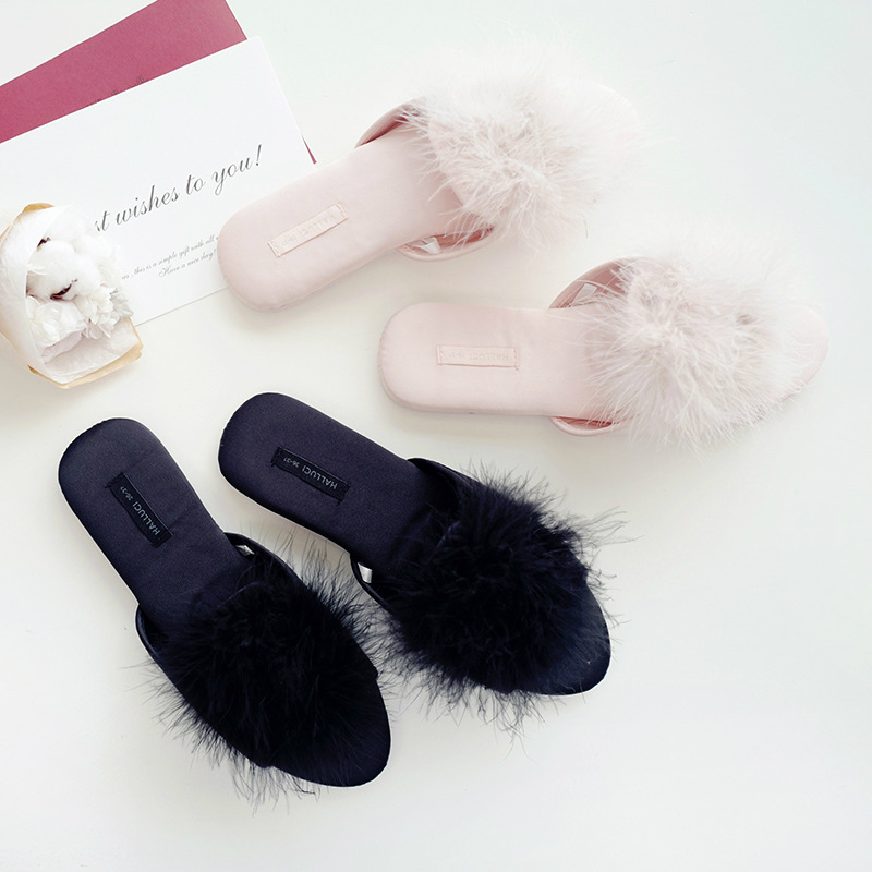 Women Peep-toe Sexy Fur At Home Slippers 2020 Cute Classic Sweet Mules Ladies Bedroom Non-slip Floor Slides Bed House Shoes
