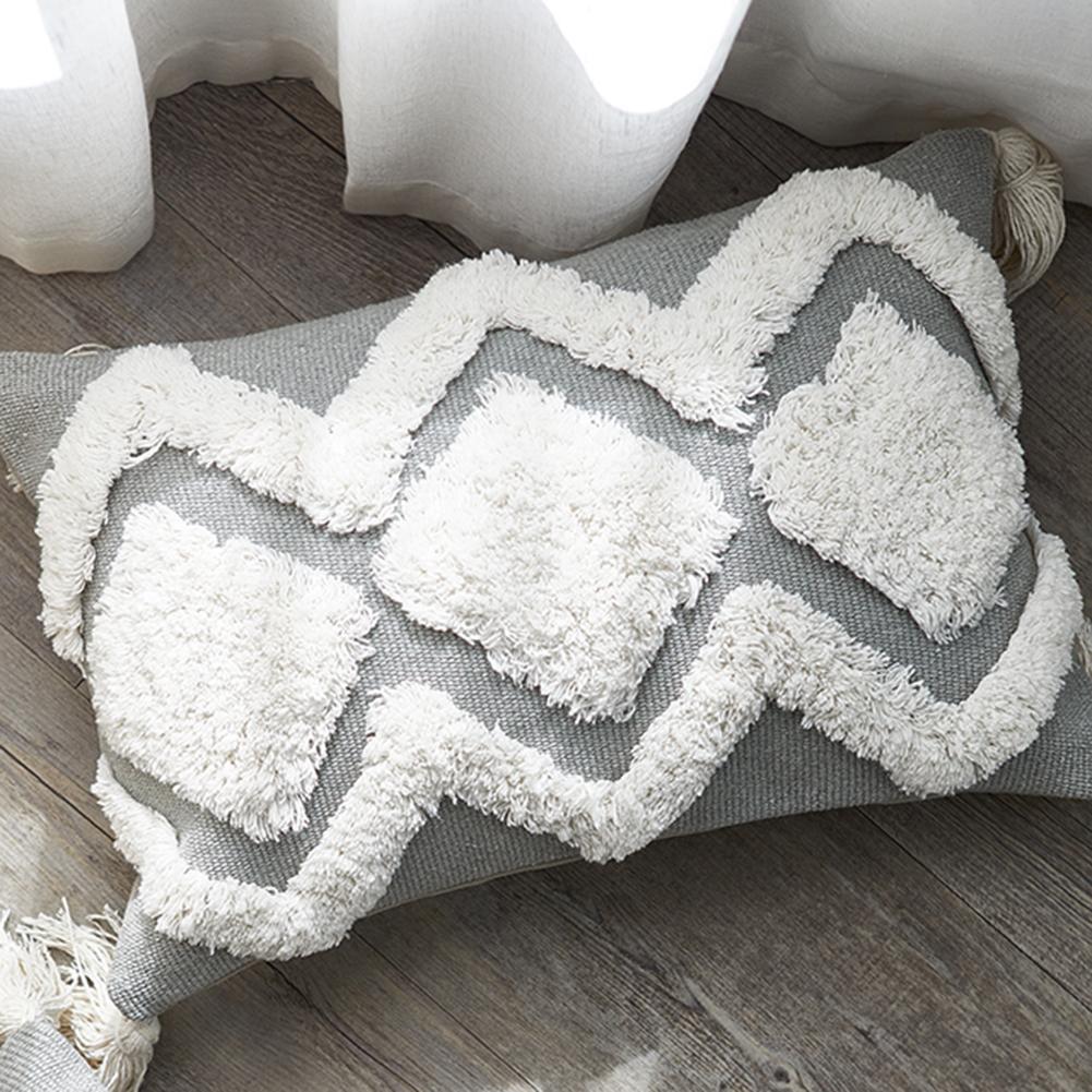 Bohemian Decorative Pillowcase Modern Tufted Cushion Set Tassel Cute Pillowcase Waist  Bedroom Living Room