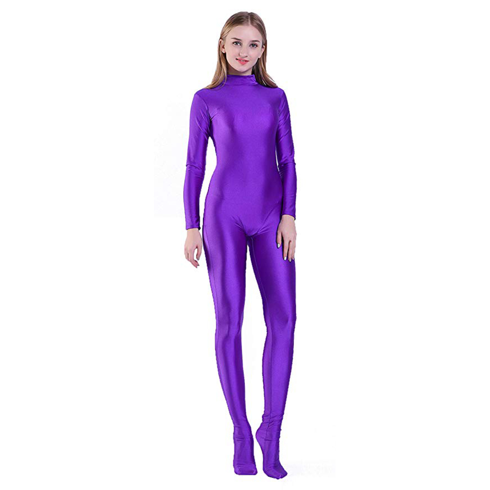 SPEERISE Adult Full Body Zentai Black Lycra Spandex Footed Skinny Tight Jumpsuits Suit For Women Unitard Man Cosplay Costumes