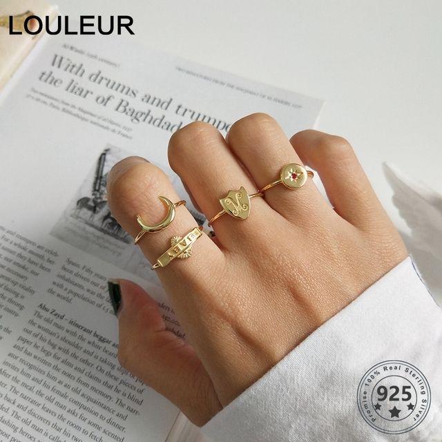 2019 new 925 sterling silver openwork rings letter baby moon-star-shield simple design wild rings for women fashion jewelry gift