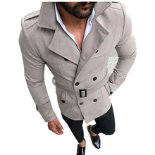 Trench Coats Winter Men Casual Slim Coat Fashion Double-breasted Adjustable Sashes Solid New 2020 Male Pockets Trench Coats