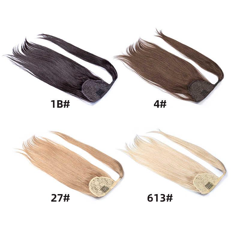 100G kucyk ludzki włos maszyna Remy prosto europejski kucyk fryzury 100% naturalne włosy dopinki na klips