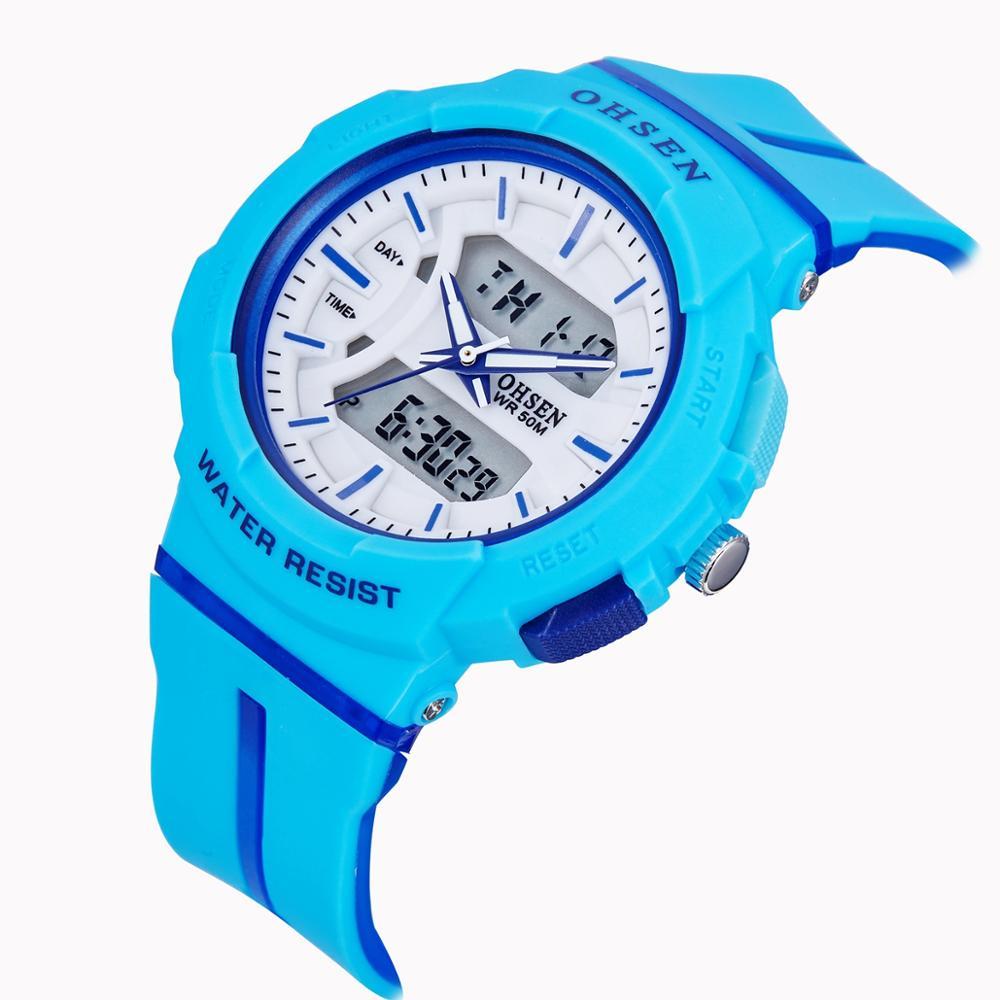 New Ohsen Digital Quartz Kids Boys Sport Wristwatch Silicone Strap 50M Waterproof Blue Outdoor Swimming Student Watch Kids Gifts