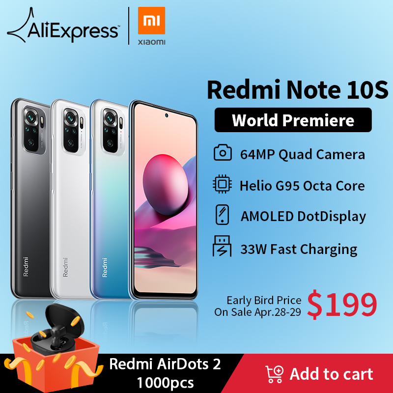 [World premiere] versão global xiaomi redmi note 10s smartphone 64mp quad camera helio g95 6.43