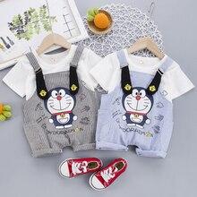 цена на Baby Boys Girls Clothes Set Children Clothing Doraemon T-shirt Overalls Pants Infant Outfits Kids Clothes Tracksuit Sport Suit