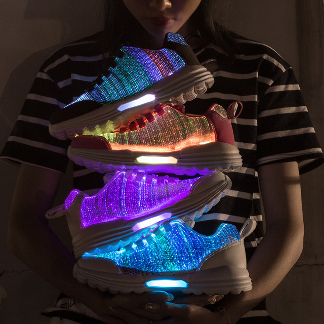 KRIATIV New Fiber Optic Luminous Sneakers for Boy&girls Led Shoes for Adult&kids Women Sneaker Children Trainers Light Up Gift