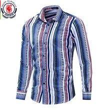 프레드 마샬 2019 새로운 패션 패치 워크 셔츠 남성 긴 소매 100% 코 튼 스트라이프 셔츠 캐주얼 세련 된 Streetwear 남자 212