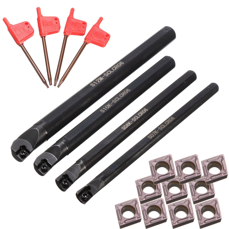 4 Set Of 7/8/10/12Mm Sclcr Lathe Boring Bar Turning Tool Holder+10Pcs Ccmt 0602 Inserts Promotion