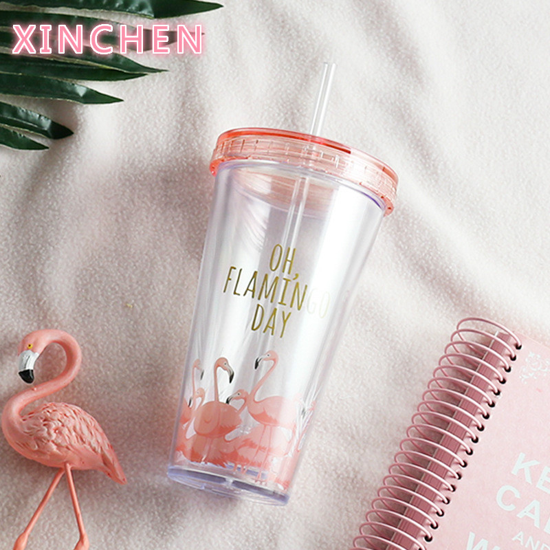 500ml Flamingo Plastic Travel Tea Coffee Mug Straw Cup Tubule With Lid Cute Cartoon Drinking Double Wall For Milk Juice Water