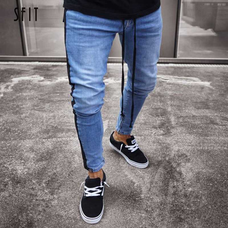 SFIT 2019 Plus Size Skinny Jeans Men Sexy Ripped Hole Stretch Denim Trousers Male Autumn Straight Streetwear Pencil Jeans NEW