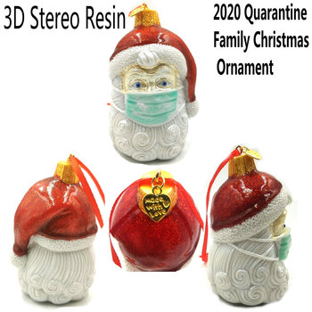 3D Stereo Resin Claus Gift 2020 Quarantine Family Christmas Ornament Pendant Family Gift Decoration Party Santa Xmas Tree image