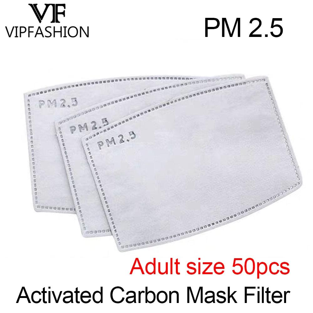 VIP FASHAION 50pcs/Lot Disposable PM2.5 Adult Filter Mouth Mask Anti Haze Bacteria Proof Flu Mask Filter Paper Health Care