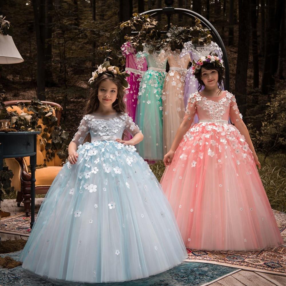 3 D Flower Girls Dress A Line Girls Birthday Party Dresses Pageant Dresses Long  Sleeve Floiwers Applique Lace Dress Blue Dress