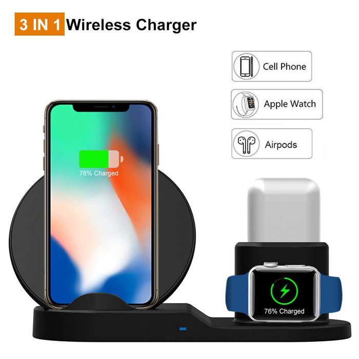 Original High-end 10W Qi Wireless Phone Charging Stand Desktop Dock Station For Iphone X XS XR 8 Plus 3 IN 1 Apple Watch Airpods
