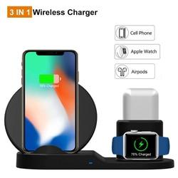 Original high-end 10 w qi suporte de carregamento do telefone sem fio estação dock desktop para iphone x xs xr 8 plus 3 em 1 apple relógio airpods