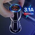 Зарядных порта USB для автомобиля Зарядное устройство для Мобильный телефон планшет с функцией быстрой зарядки 3,0 3.1A быстро Зарядное устройс...