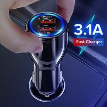 Carregador de carro usb para o telefone móvel tablet carga rápida 3.0 3.1a carregador rápido carro-carregador duplo usb carregador de telefone adaptador no carro
