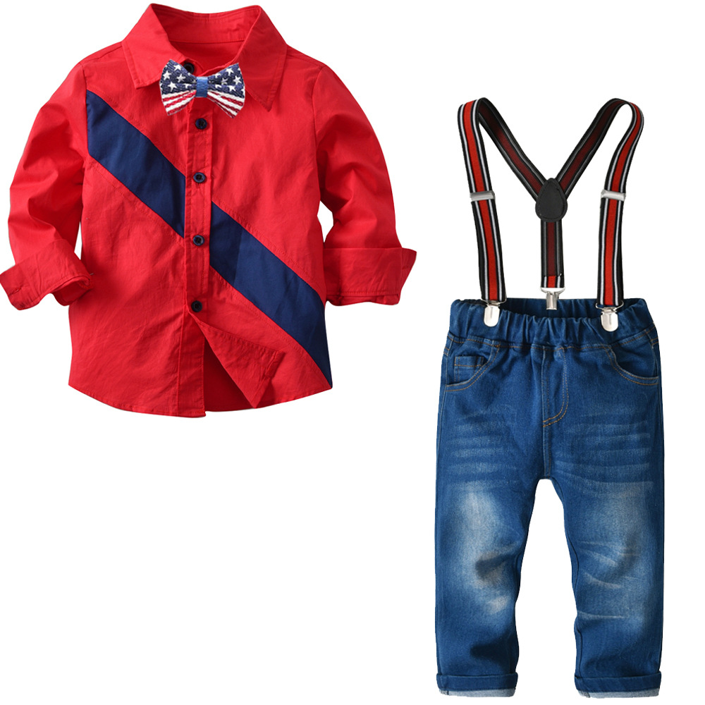 2020 gentleman Boy Suit Children's Clothing Sets For Spring Kids With Long Sleeves Shirts + jeans Trousers 2pcs kids Suit 9