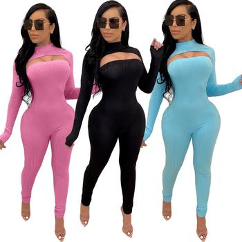JRRY Two Pieces Women Ribbed Set Pullover Jumpsuit 2 Leisure Suit Long Sleeve Strapless Casual