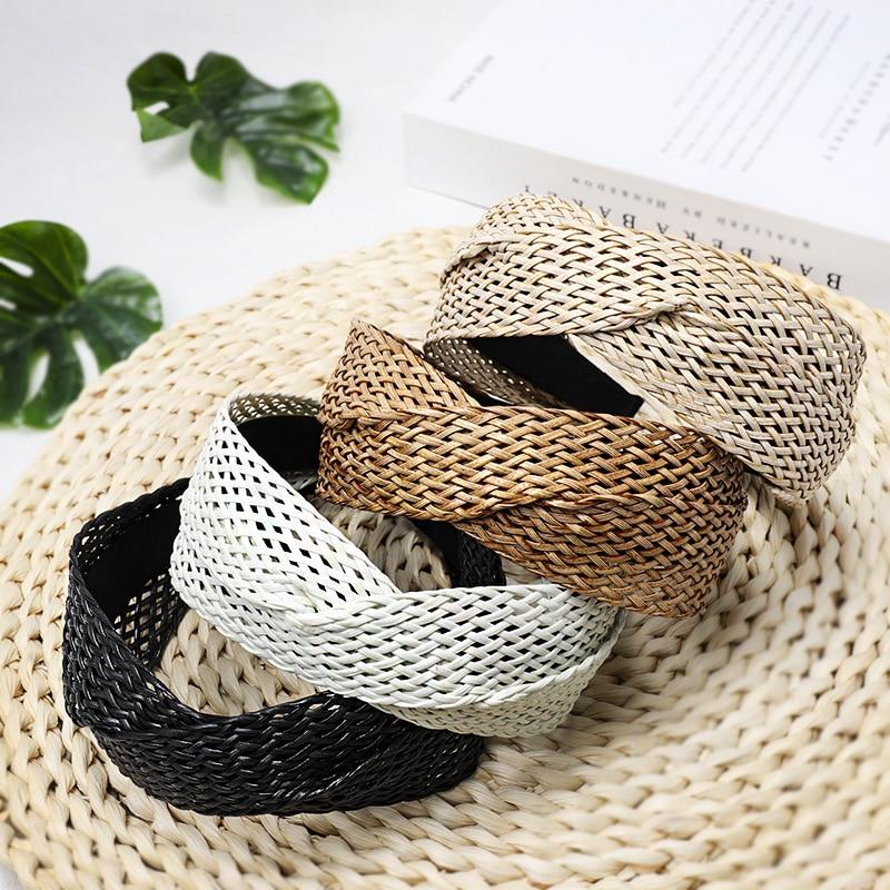 Bohemian Hairband Summer Straw Weaving Knotted Headband For Women Cross Handmade Hair Hoop Hairband Hair Accessories