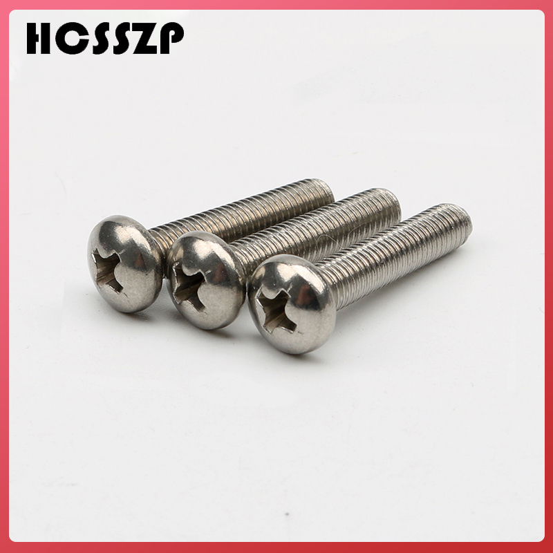 Free Shipping 100 Pcs M4 M5 M6 Pan Head PM Screws GB818 304 Stainless Steel Cross Recessed Phillips Free Shipping-in Marine Hardware from Automobiles & Motorcycles