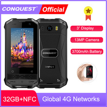 CONQUEST Mini Phone F2 IP68 Waterproof Rugged Smartphone Mobile Phone Fingerprint NFC Android 4G LTE Cheap Cell phone Cellphones