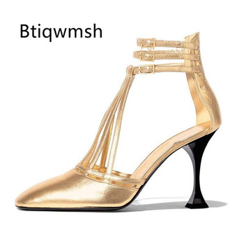 2019 Gold Leather Gladiator Sandals Women Pointed Toe T-Strap Narrow Band Strange High Heel Shoes Woman Sexy Party Shoes