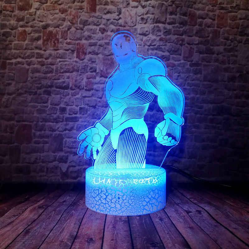 Criativo Avengers IronMan Figma 3D Ilusão LED Nightlight Colorido Mudando Luz da Mesa Modelo Marvel homem De Ferro Figura Brinquedos