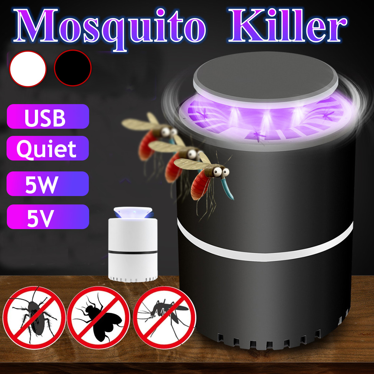 Electric Fly Bug Mosquito Insect Killer Lamp 365nm Wavelength Suction Fan Catcher Anti Mosquito Home Living Room Pest Control